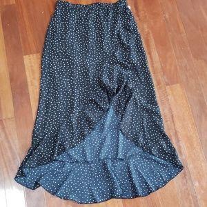 Navy and White Polka Dot faux wrap skirt